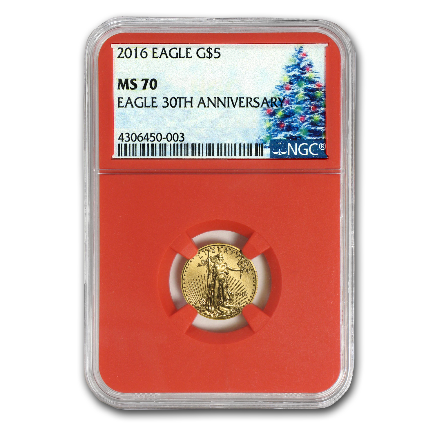 2016 1/10 oz Gold American Eagle MS-70 NGC (Christmas Label)